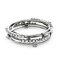 Vince Camuto™ Stone And Stud Silvertone Bangle Set