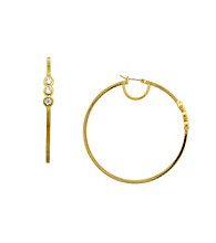 Vince Camuto™ Triple Stone Goldtone Hoop Earrings