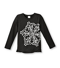 Little Miss Attitude Girls' 2T-6X Black Long Sleeve Ruffle Tunic