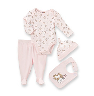 Cuddle Bear® Baby Girls' Pink 4-pc. Long Sleeve Girl Bear Take-Me-Home Set
