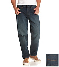 Ruff Hewn Men's Dark Stone Wash 5-Pocket Relaxed Fit Jeans