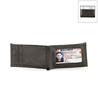 Kenneth Cole REACTION® Men's Black Leather Bifold Wallet with Front Pocket