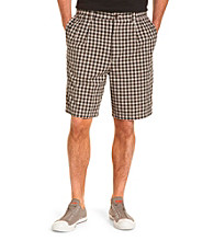 Harbor Bay® Men's Big & Tall Black & White Waist Relaxer Pleated Plaid Shorts