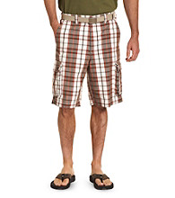 True Nation™ Men's Big & Tall Olive Plaid Cargo Shorts