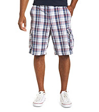 True Nation™ Men's Big & Tall Red, Blue & White Plaid Cargo Shorts