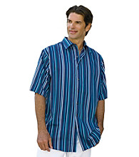 Synrgy Men's Big & Tall Navy/Multicolored Dobby Stripe Sport Shirt