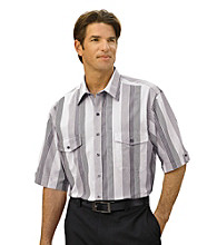 Synrgy Men's Big & Tall Black/White/Multicolored Dobby Stripe Sport Shirt
