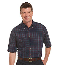 Harbor Bay® Men's Big & Tall Navy/Multicolored Easy Care Grid Sport Shirt