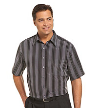 Synrgy Men's Big & Tall Black/Multicolored Stripe Microfiber Sport Shirt