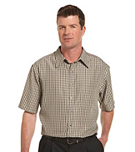 Synrgy Men's Big & Tall Mini Plaid Microfiber Sport Shirt