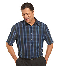 Synrgy Men's Big & Tall Navy/Multicolored Plaid Microfiber Sport Shirt
