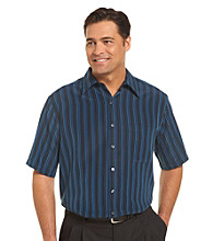 Synrgy Men's Big & Tall Blue Water Stripe Microfiber Sport Shirt