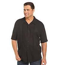 Island Passport® Men's Big & Tall Black Embroidered Panel Shirt