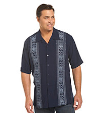 Island Passport® Men's Big & Tall Navy Embroidered Panel Shirt