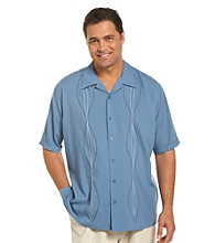 Island Passport® Men's Big & Tall Blue Shadow Embroidered Panel Shirt