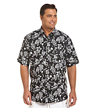 Harbor Bay® Men's Big & Tall Black/Multicolored Hula Print Sport Shirt