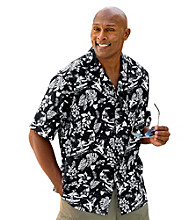 Harbor Bay® Men's Big & Tall Black/Multicolored Hula Print Camp Shirt