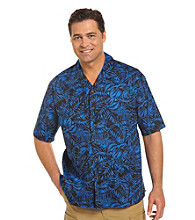 Harbor Bay® Men's Big & Tall Blue/Multicolored Fern-Print Camp Shirt