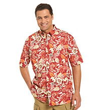 Harbor Bay® Men's Big & Tall Red/Multicolored Floral-Print Sport Shirt