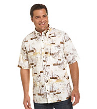 Harbor Bay® Men's Big & Tall Ecru Old World Ship Sport Shirt