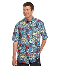 Harbor Bay® Men's Big & Tall Blue/Multicolored Floral-Print Sport Shirt