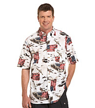 Harbor Bay® Men's Big & Tall White/Multicolored Flag and Ship Sport Shirt