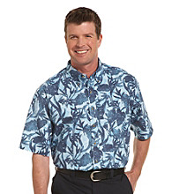 Harbor Bay® Men's Big & Tall Navy/Multicolored Tonal Leaf-Print Sport Shirt