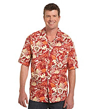 Harbor Bay® Men's Big & Tall Red/Multicolored Floral-Print Camp Shirt