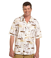 Harbor Bay® Men's Big & Tall Ecru/Multicolored One World Ship Camp Shirt