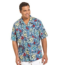 Harbor Bay® Men's Big & Tall Blue/Multicolored Floral-Print Camp Shirt