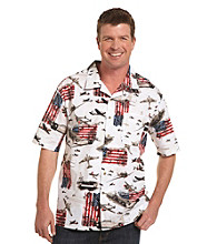 Harbor Bay® Men's Big & Tall White/Multicolored Flag and Ship Camp Shirt