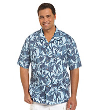 Harbor Bay® Men's Big & Tall Navy/Multicolored Tonal Leaf-Print Camp Shirt