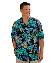 Island Passport® Men's Big & Tall Navy/Multicolored Floral-Print Camp Shirt