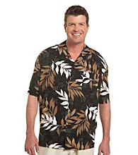 Island Passport® Men's Big & Tall Black/Multicolored Leaf-Print Camp Shirt
