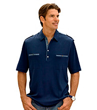 Synrgy Men's Big & Tall Deep Navy Mixed Media Polo