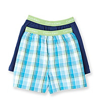Calvin Klein Boys' 4-18 Blue Plaid 2-pk. Boxer Shorts
