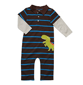 Carter's® Baby Boys' Brown/Turquoise Striped Dinosaur Jumpsuit