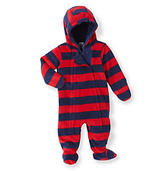 Cuddle Bear® Baby Boys' Red/Navy Rugby Striped Fleece Pram