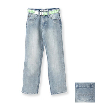 Mambo® Boys' 8-20 Barclay Belted Jeans - Light Bleached Crinkle
