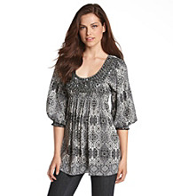 Oneworld® Mosaic Print Embellished Top