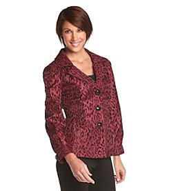 Laura Ashley® Petites' Flocked Animal Print Jacket
