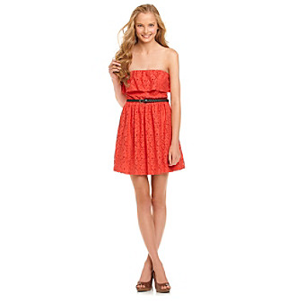 Bee Darlin' Juniors' Strapless Lace Ruffle Dress