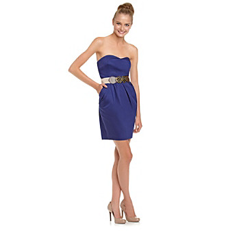 A. Byer Cobalt Strapless Dress