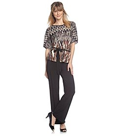 R & M Richards® Petites' ITY Printed Top and Pants Set