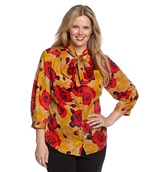 Anne Klein® Plus Size Floral Print Bow Blouse