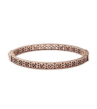 Fossil® Rose Goldtone Signature Pattern Cut Out Hinged Bangle Bracelet