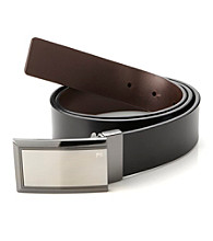 Perry Ellis Portfolio® Men's Black/Brown Reversible Sunshine Plaque Belt