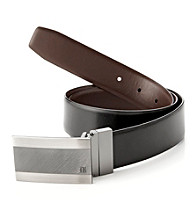 Perry Ellis Portfolio® Men's Black/Brown Reversible Emery Plaque Belt
