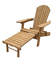 Merry Products, Corp. Foldable Adirondack Chair with Pull-Out Ottoman