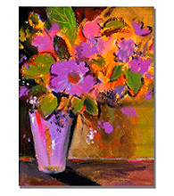 Purple Magenta Flowers Framed Art by Shelia Golden